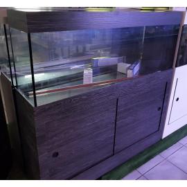 Aquarium équipé 120x30x50 Chêne Foncé + Meuble 2 portes