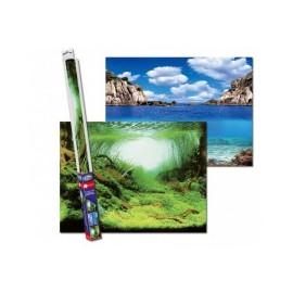 POSTER FOND D'AQUARIUM 60 X 30 CM RECTO VERSO PLANTES/OCEAN