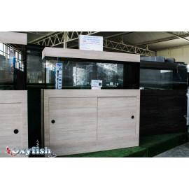 Aquarium équipé 120x30x50 Chêne grisé + Meuble 2 portes