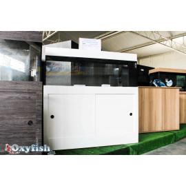 Aquarium équipé 120x30x50 Blanc en 6 mm + Meuble 2 portes